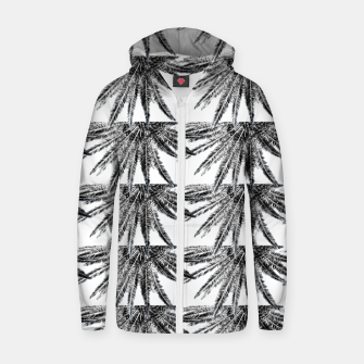 Abstract Palm Leaves in black and white Reißverschluss kapuzenpullover thumbnail image