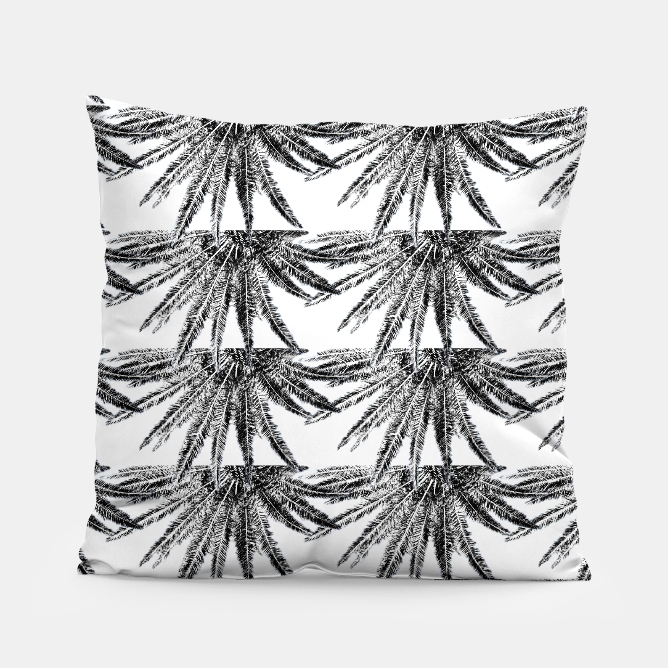 Image of Abstract Palm Leaves in black and white Kissen - Live Heroes