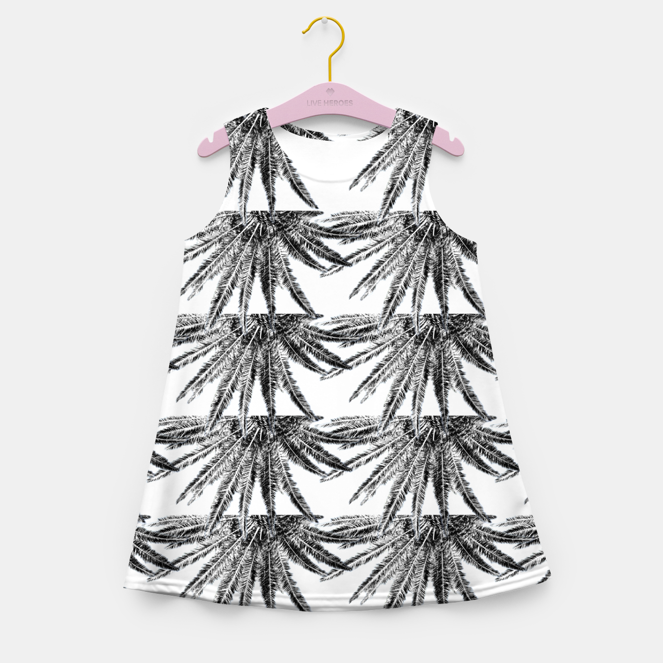 Image of Abstract Palm Leaves in black and white Mädchen-Sommerkleid - Live Heroes