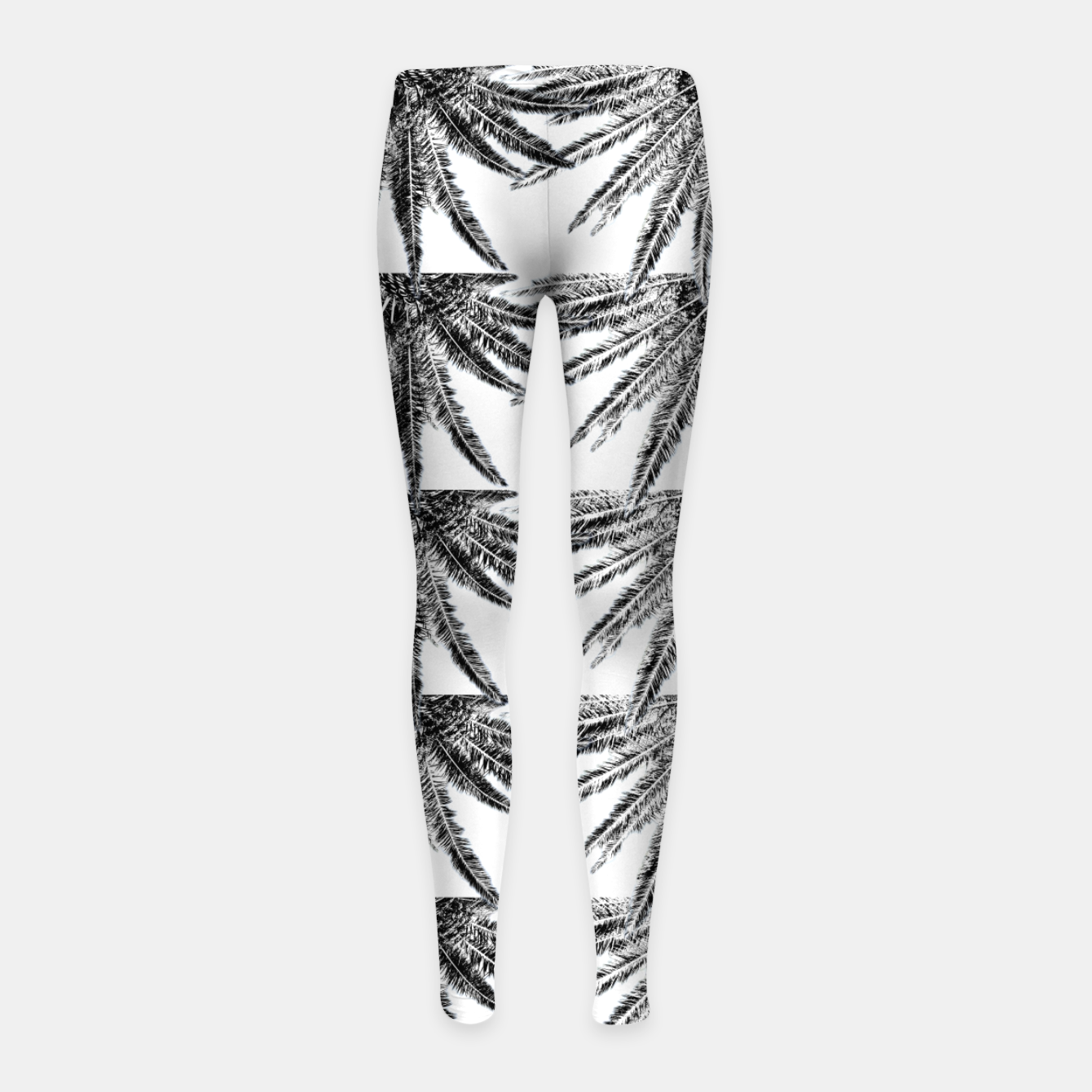 Image of Abstract Palm Leaves in black and white Kinder-Leggins - Live Heroes