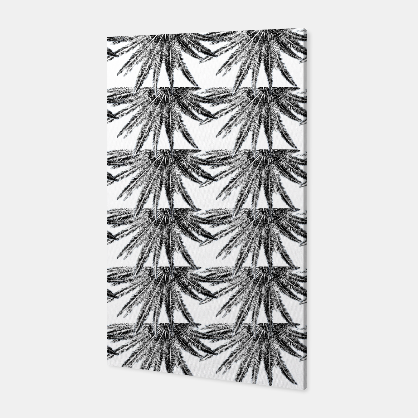 Image of Abstract Palm Leaves in black and white Canvas - Live Heroes