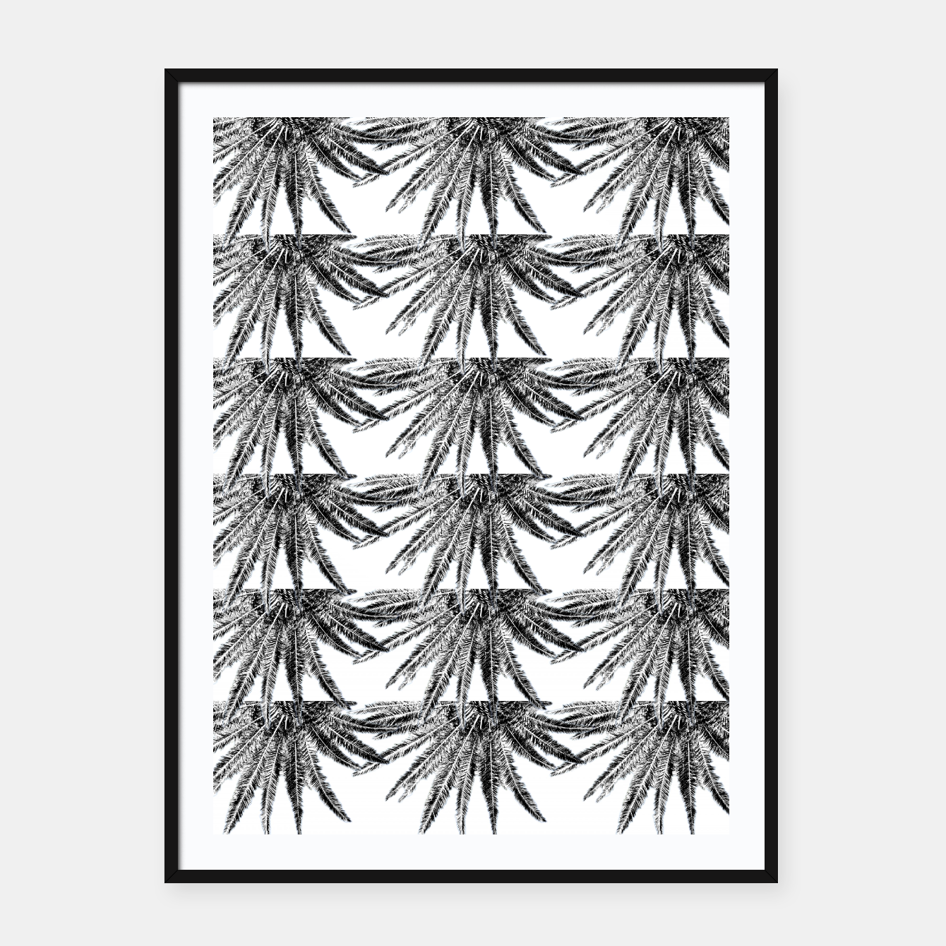Image of Abstract Palm Leaves in black and white Plakat mit rahmen - Live Heroes