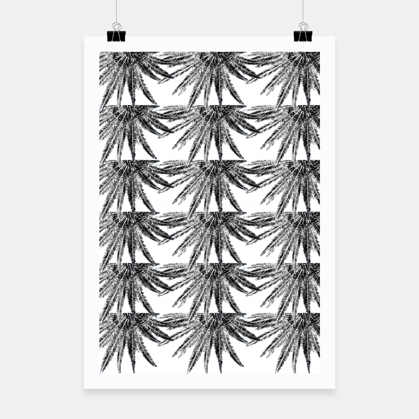Image of Abstract Palm Leaves in black and white Plakat - Live Heroes