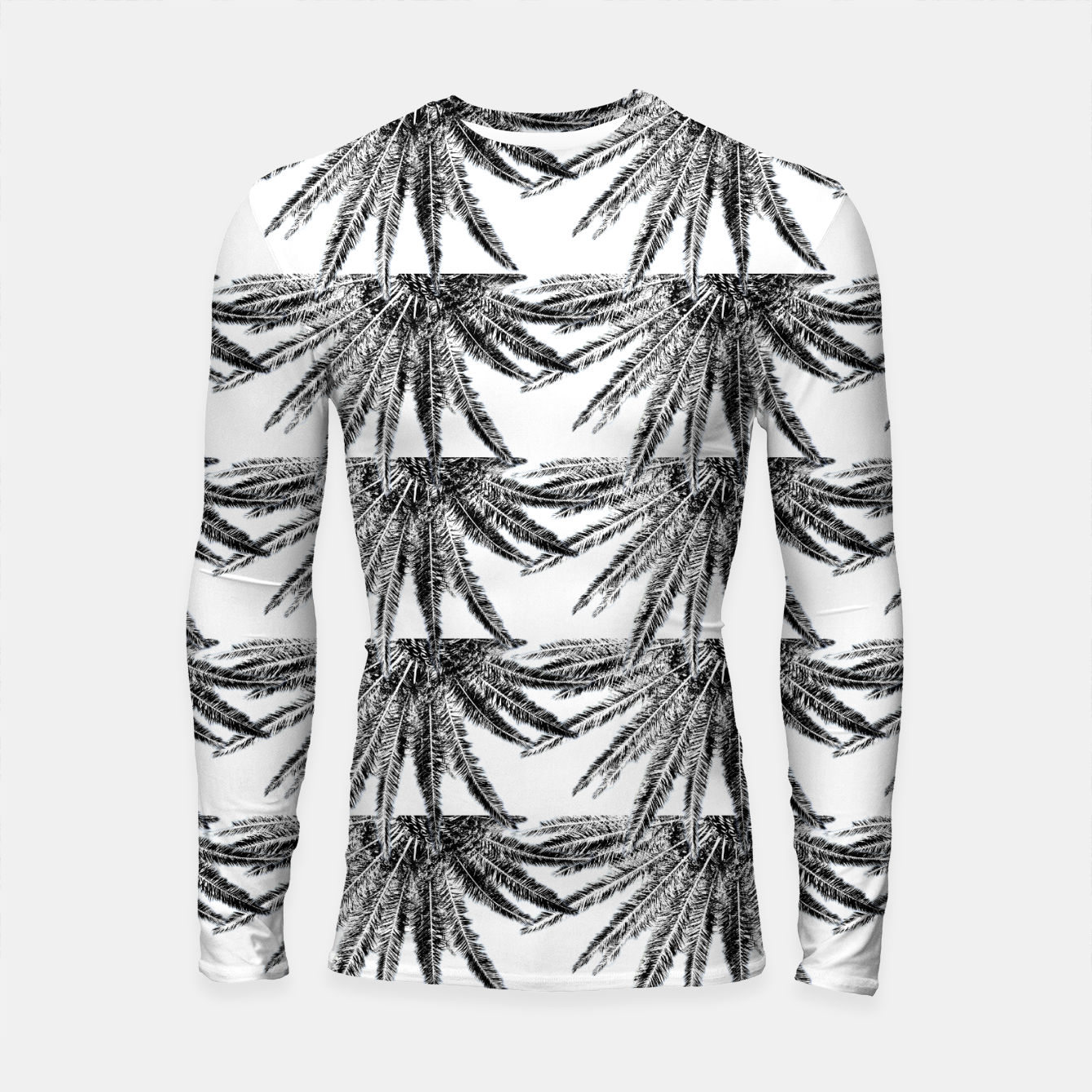 Image of Abstract Palm Leaves in black and white Longsleeve rashguard - Live Heroes