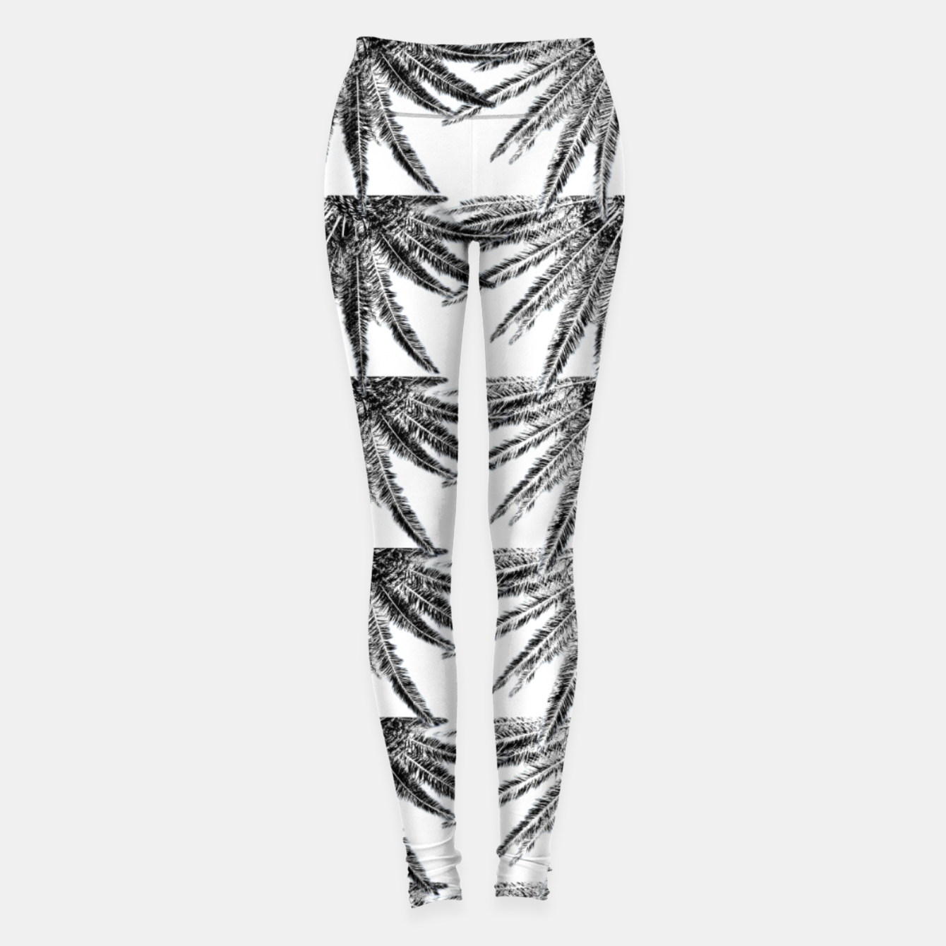 Image of Abstract Palm Leaves in black and white Leggings - Live Heroes