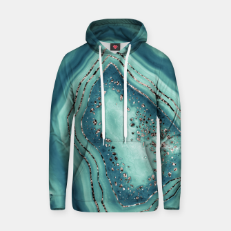 Thumbnail image of Teal Agate Rose Gold Glitter Glam #2 #gem #decor #art Kapuzenpullover, Live Heroes