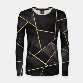 Thumbnail image of Dark Black Ink Gold Geometric Glam #1 #geo #decor #art Frauen sweatshirt, Live Heroes