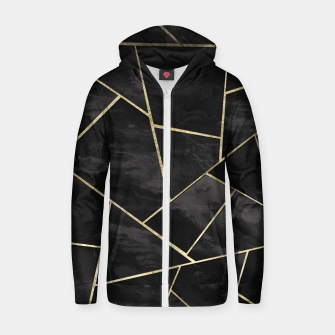 Thumbnail image of Dark Black Ink Gold Geometric Glam #1 #geo #decor #art Reißverschluss kapuzenpullover, Live Heroes