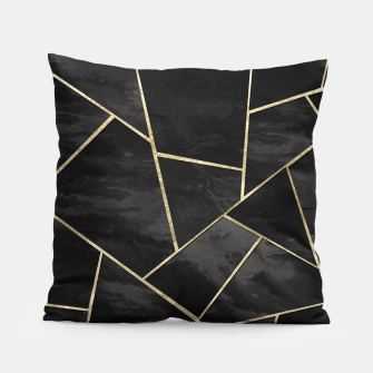 Thumbnail image of Dark Black Ink Gold Geometric Glam #1 #geo #decor #art Kissen, Live Heroes