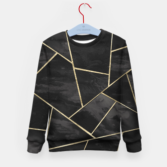 Thumbnail image of Dark Black Ink Gold Geometric Glam #1 #geo #decor #art Kindersweatshirt, Live Heroes