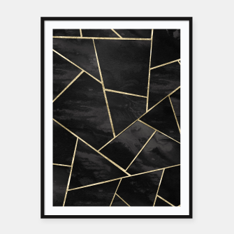 Thumbnail image of Dark Black Ink Gold Geometric Glam #1 #geo #decor #art Plakat mit rahmen, Live Heroes