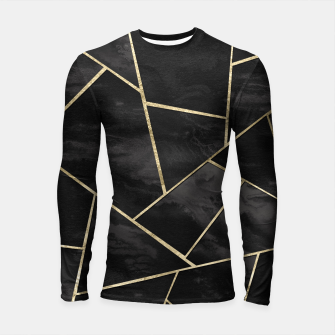 Thumbnail image of Dark Black Ink Gold Geometric Glam #1 #geo #decor #art Longsleeve rashguard, Live Heroes