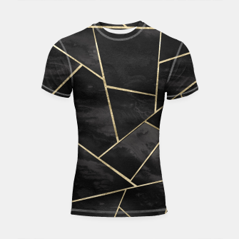 Thumbnail image of Dark Black Ink Gold Geometric Glam #1 #geo #decor #art Shortsleeve rashguard, Live Heroes