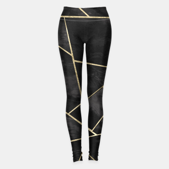 Thumbnail image of Dark Black Ink Gold Geometric Glam #1 #geo #decor #art Leggings, Live Heroes