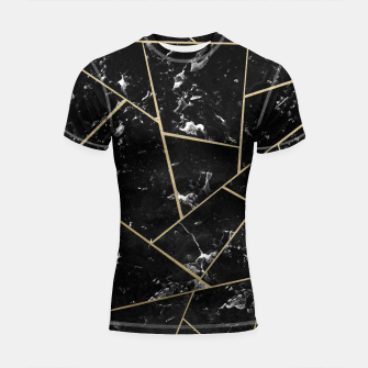 Black Marble Gold Geometric Glam #1 #geo #decor #art Shortsleeve rashguard thumbnail image