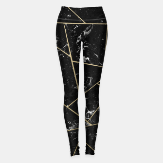 Black Marble Gold Geometric Glam #1 #geo #decor #art Leggings thumbnail image