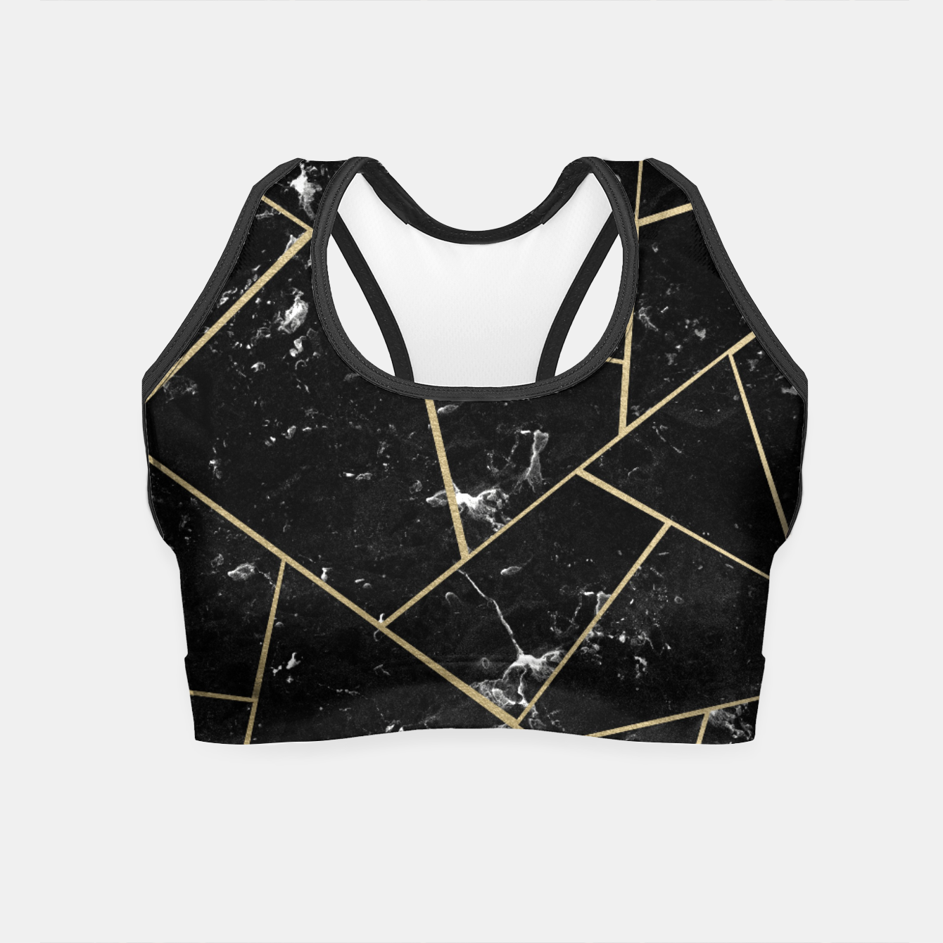 Image of Black Marble Gold Geometric Glam #1 #geo #decor #art Crop Top - Live Heroes