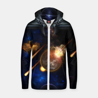 Thumbnail image of Asteroid Apocalypse Fractal Art Spacescape Zip up hoodie, Live Heroes
