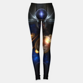 Thumbnail image of Asteroid Apocalypse Fractal Art Spacescape Leggings, Live Heroes