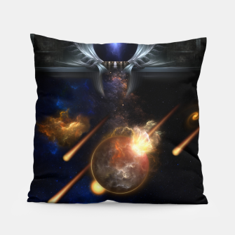 Thumbnail image of Asteroid Apocalypse Fractal Art Spacescape Pillow, Live Heroes