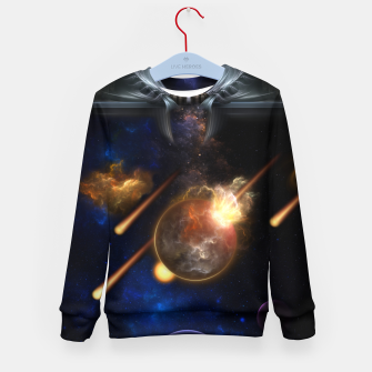 Thumbnail image of Asteroid Apocalypse Fractal Art Spacescape Kid's sweater, Live Heroes