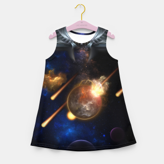 Miniaturka Asteroid Apocalypse Fractal Art Spacescape Girl's summer dress, Live Heroes