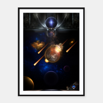 Thumbnail image of Asteroid Apocalypse Fractal Art Spacescape Framed poster, Live Heroes
