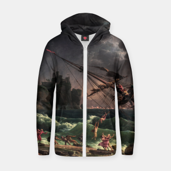 The Shipwreck by Laude Joseph Vernet Zip up hoodie thumbnail image