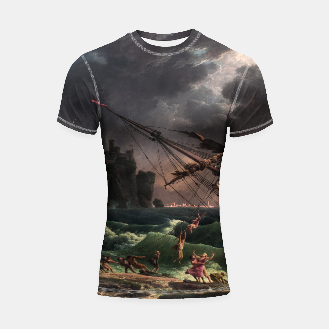 Image of The Shipwreck by Laude Joseph Vernet Shortsleeve rashguard - Live Heroes