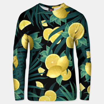 Summer Lemon Twist Jungle Night #1 #tropical #decor #art  Unisex sweatshirt thumbnail image