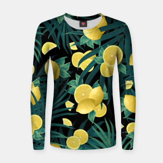 Thumbnail image of Summer Lemon Twist Jungle Night #1 #tropical #decor #art  Frauen sweatshirt, Live Heroes