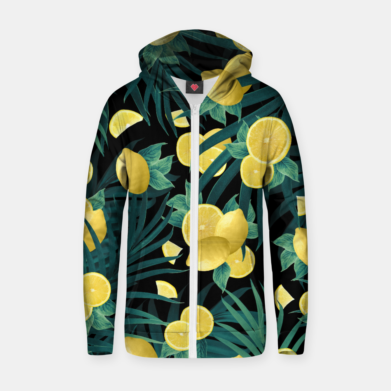 Image of Summer Lemon Twist Jungle Night #1 #tropical #decor #art  Reißverschluss kapuzenpullover - Live Heroes
