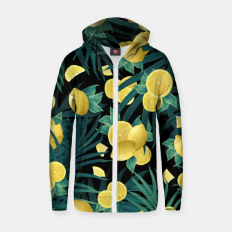 Summer Lemon Twist Jungle Night #1 #tropical #decor #art  Reißverschluss kapuzenpullover thumbnail image