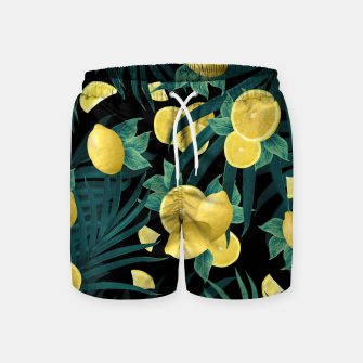Summer Lemon Twist Jungle Night #1 #tropical #decor #art  Badeshorts thumbnail image