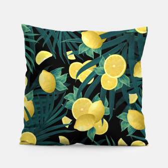 Summer Lemon Twist Jungle Night #1 #tropical #decor #art  Kissen thumbnail image