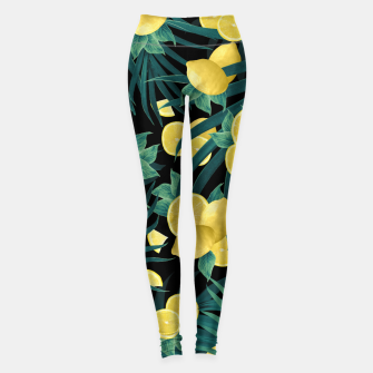 Thumbnail image of Summer Lemon Twist Jungle Night #1 #tropical #decor #art  Leggings, Live Heroes