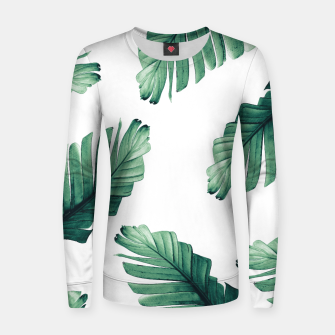 Tropical Banana Leaves Dream #5 #foliage #decor #art Frauen sweatshirt obraz miniatury