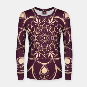 Thumbnail image of Burgundy and Yellow Mandala Women sweater, Live Heroes
