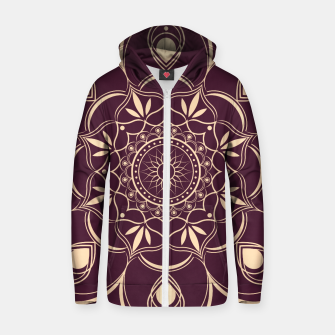 Thumbnail image of Burgundy and Yellow Mandala Zip up hoodie, Live Heroes