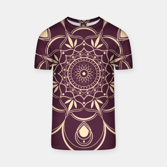 Thumbnail image of Burgundy and Yellow Mandala T-shirt, Live Heroes
