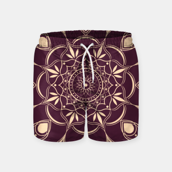 Thumbnail image of Burgundy and Yellow Mandala Swim Shorts, Live Heroes