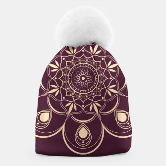 Thumbnail image of Burgundy and Yellow Mandala Beanie, Live Heroes