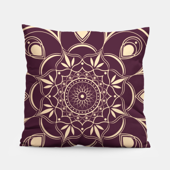 Thumbnail image of Burgundy and Yellow Mandala Pillow, Live Heroes