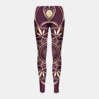 Thumbnail image of Burgundy and Yellow Mandala Girl's leggings, Live Heroes