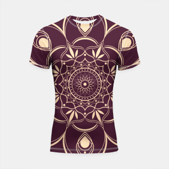 Thumbnail image of Burgundy and Yellow Mandala Shortsleeve rashguard, Live Heroes