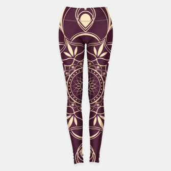 Thumbnail image of Burgundy and Yellow Mandala Leggings, Live Heroes