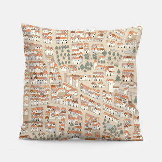 Miniatur Bird's-Eye View on Peaceful European Renaissance Provinces Pillow, Live Heroes
