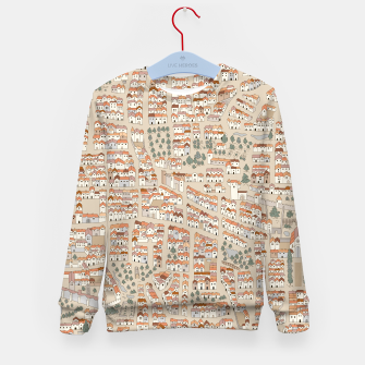 Miniatur Bird's-Eye View on Peaceful European Renaissance Provinces Kid's sweater, Live Heroes