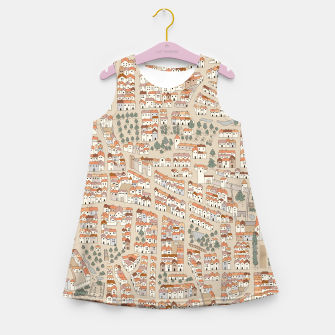 Miniatur Bird's-Eye View on Peaceful European Renaissance Provinces Girl's summer dress, Live Heroes