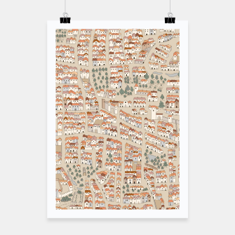 Miniatur Bird's-Eye View on Peaceful European Renaissance Provinces Poster, Live Heroes
